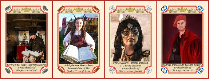 Cards from the standard deck featuring Bourseholders from 'The League Trading Company'