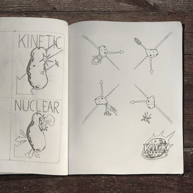 Early concept sketches for Kick Asteroid
