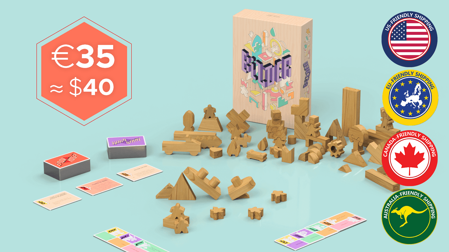 Let your imagination run wild with a box of custom wooden pieces in this tabletop game for 2 to 12 players.