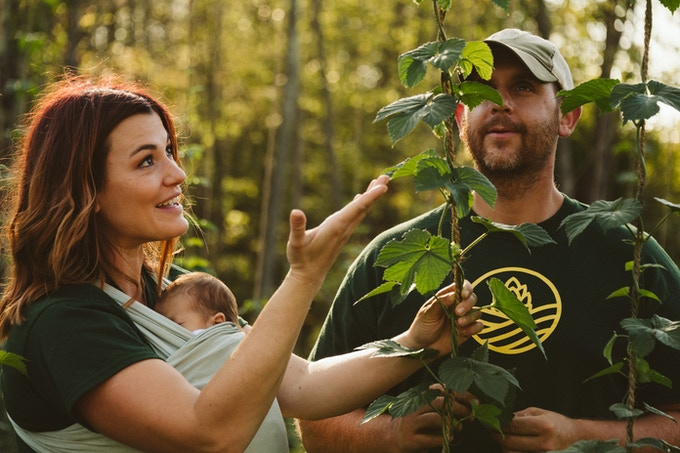 Me dazzling our Director of Farming/my husband with my insane hop knowledge. Photo cred: Connecticut Food and Farm