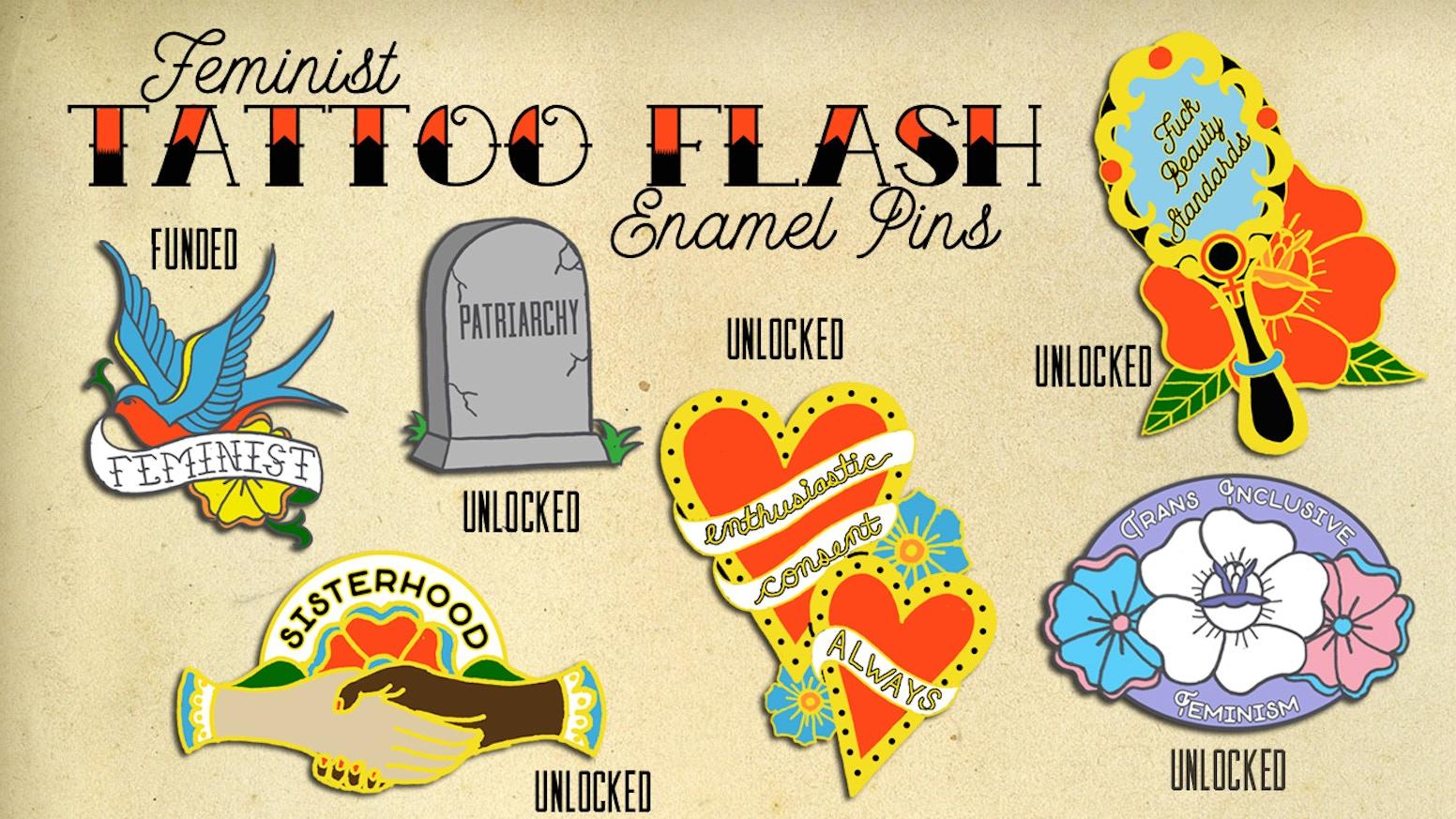 Feminist Tattoo Flash Enamel Pins By Angi Becker First Stretch