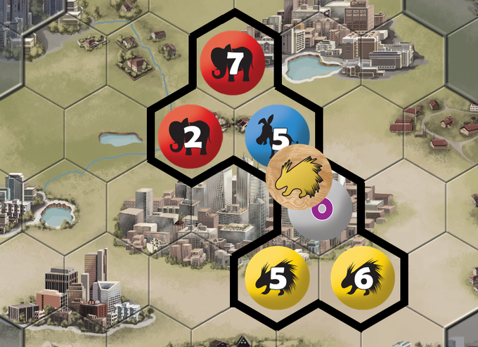 The Yellow Porcupines just won this district with 11 votes. It contains a swing county (the purple 0), which will help break ties at end of game.