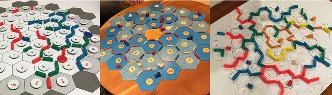 Early prototypes of Mapmaker, made with components from Settlers of Catan, Ticket to Ride, Cosmic Encounter, and Othello.