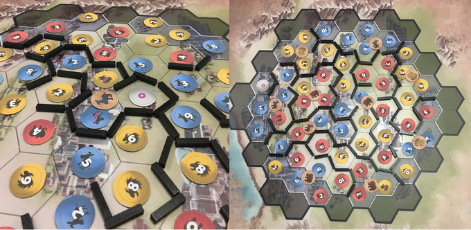 Left: 3 swing counties won by a narrow margin. Right: a game won with a 12-county district.