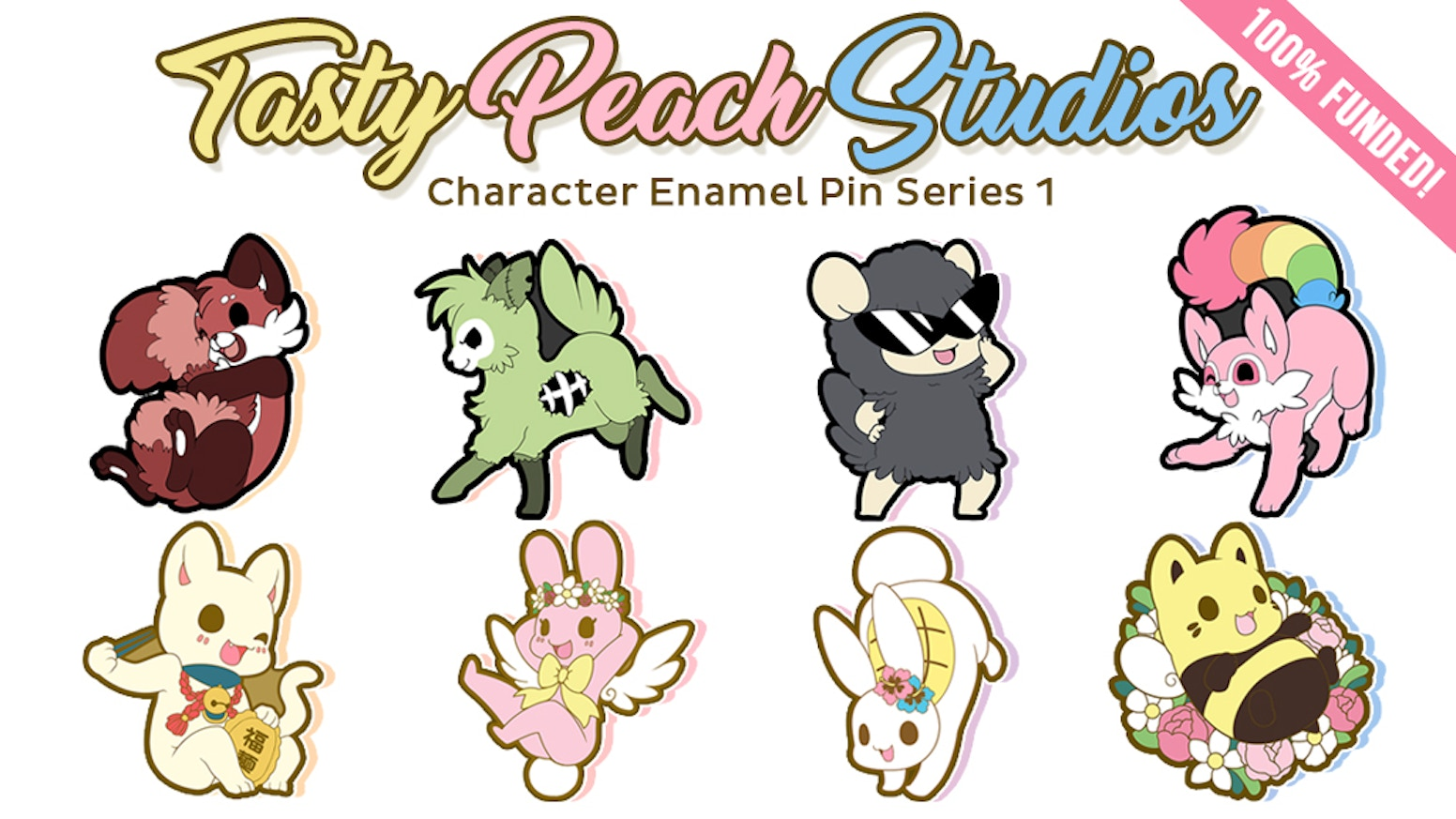 6 adorable character enamel pins from Tasty Peach Studios