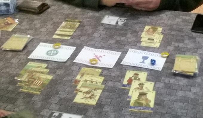Game In Progress w/ Prototype boards & Leaders