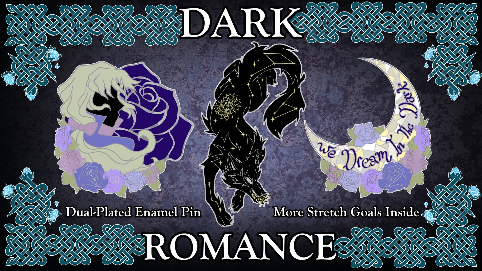 A romantic enamel pin set of moonlight, roses, and all the creatures of the night.
