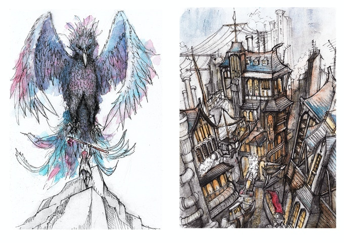 King of the Mountain & Old Town Illustrations