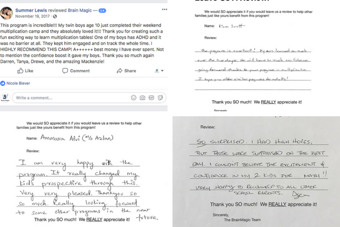 Actual reviews from attendees of our Math Camps - See more reviews by clicking on this photo