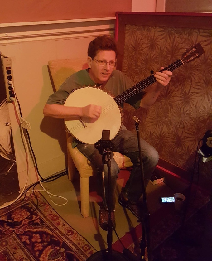 Tim O'Brien and his very large banjo!