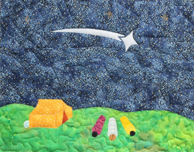 """Backers receiving a quilted panel can pick this """"meteor"""" image, the yellow surfer pictured above, or the cover (pink snail) illustration for their one-of-a-kind reward.  Fabrics will vary slightly."""