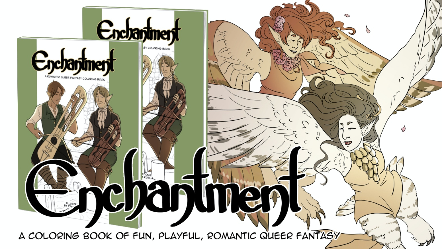 This coloring book features moments shared between queer fantasy characters. The focus is on warm, playful, and romantic illustrations!