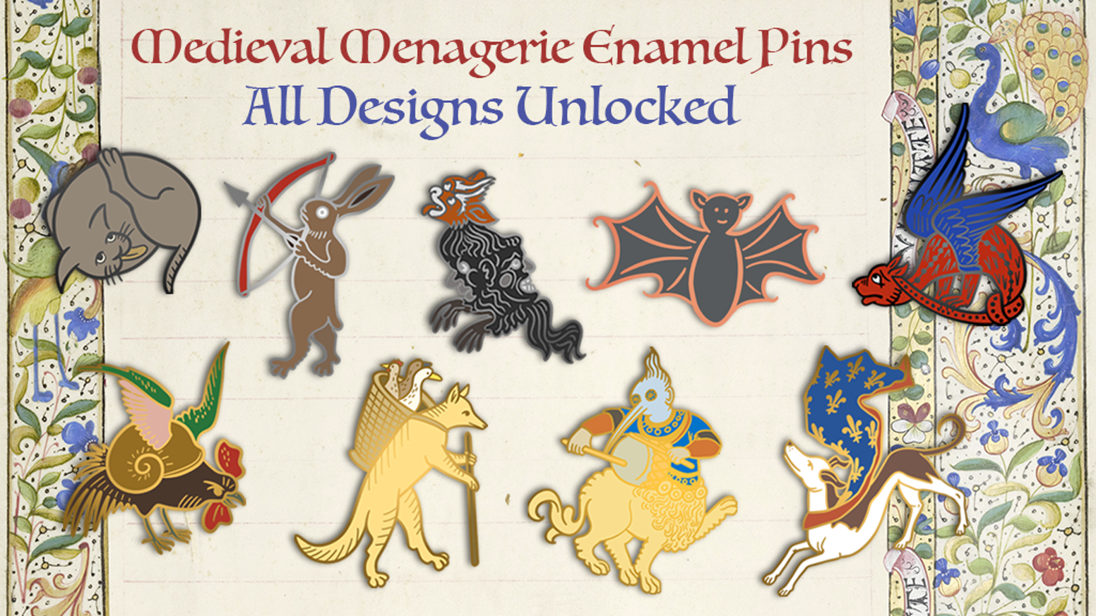 A herd of Beastly Hard Enamel pins, straight from the manuscript margins. Dragons, Foxes, Rabbits, Dogs, Cats & some other Wee Beasties! Follow on Twitter @fromvellum