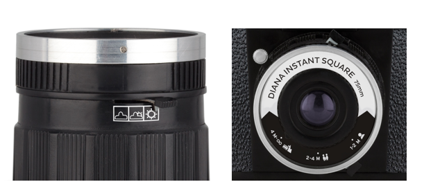 Left: adjustable apertures, Right: zone-focusing system
