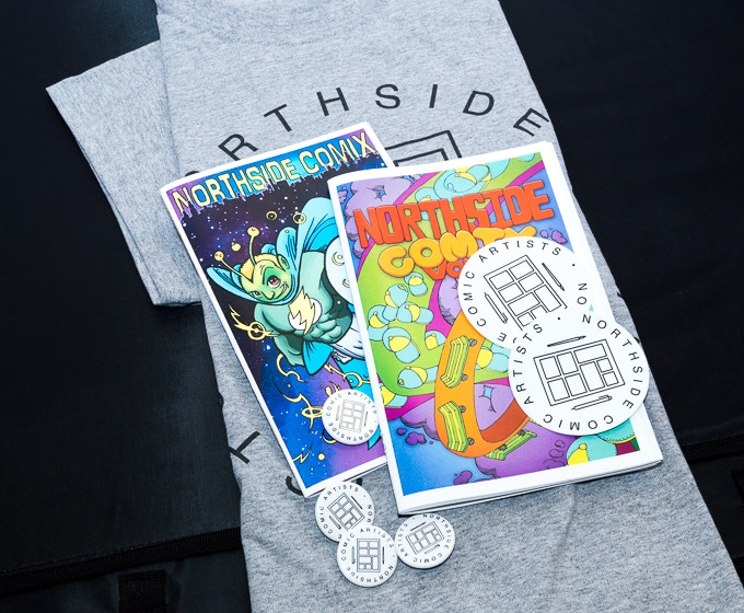 Northside Comics shirts, buttons, stickers, and kids zines