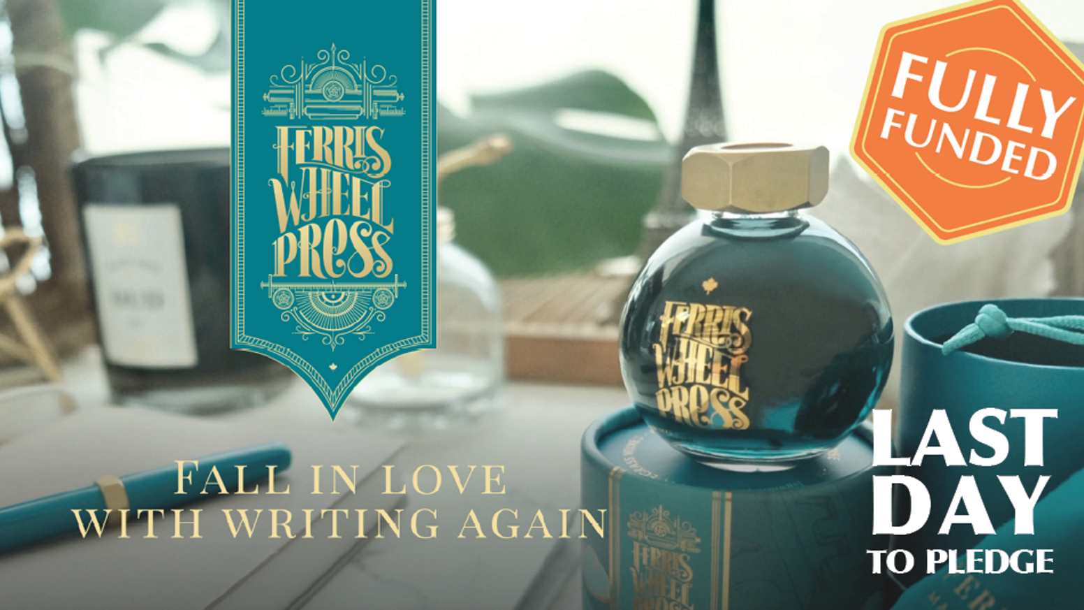 Fall in love with writing again, with our new and inspiring collection of fountain pen inks. With the generous support of the Kickstarter community, our original fountain pen inks are now permanently available on our website at shop.ferriswheelpress.com.
