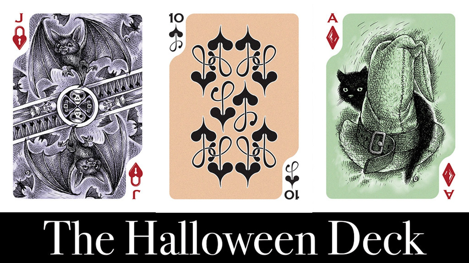 A deck of playing cards with a Halloween theme by award-winning Artist Stephen W. Brandt
