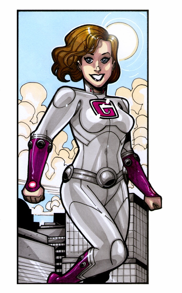 A woman superhero with a G on her chest, styled in purple and grey with shoulder-length light brown hair.