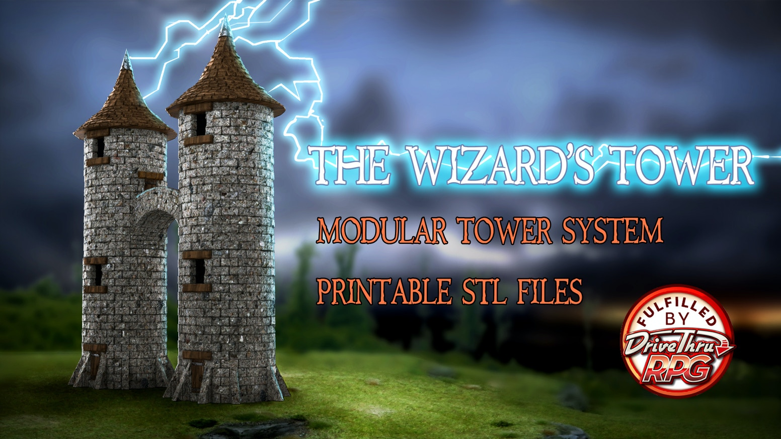 3D printable STL files for a modular tower scaled for 28mm wargaming tabletop miniatures. Use your 3D printer to build it your own way.