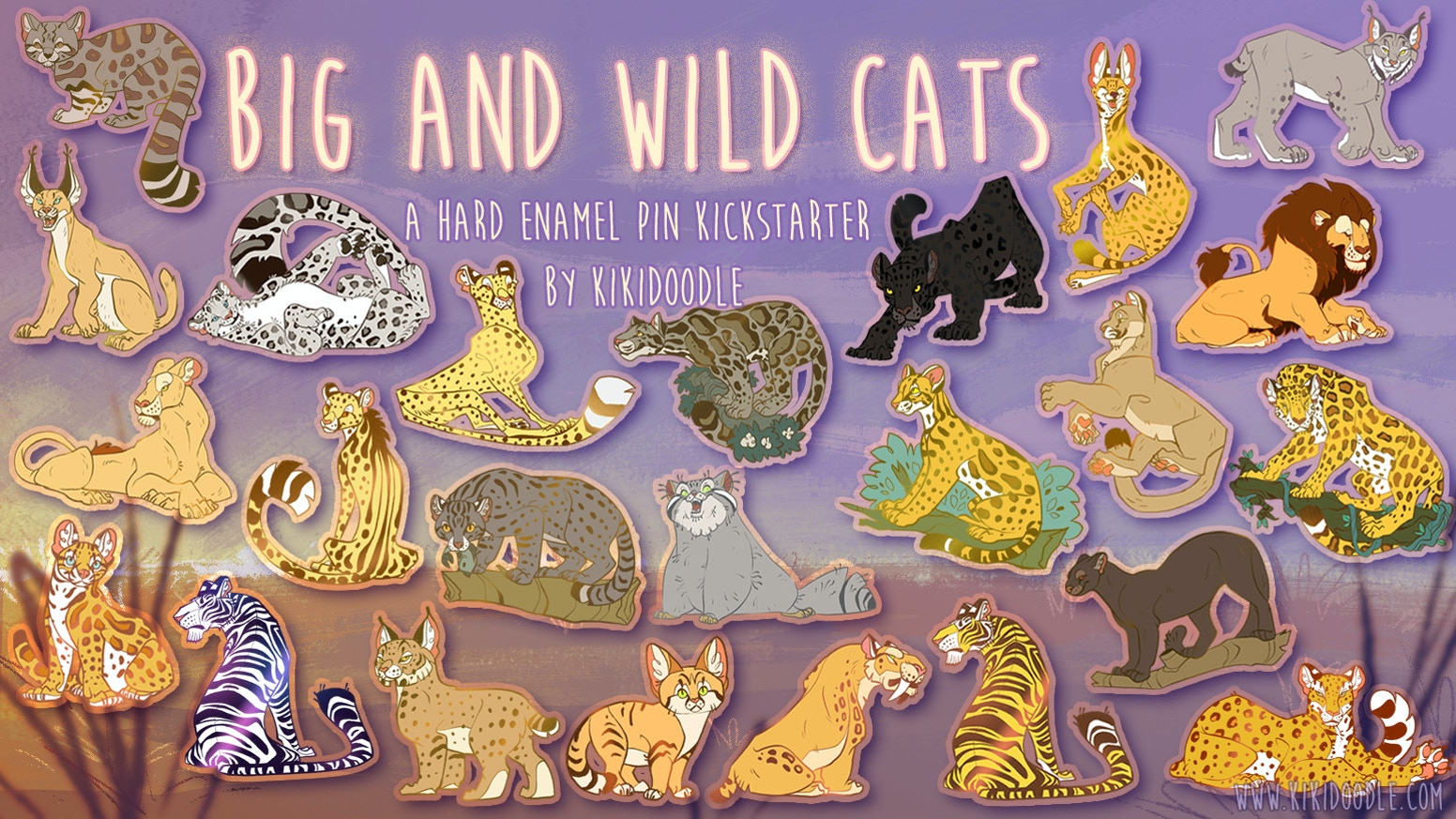 Big and Wild Cats Hard Enamel Pins by KikiDoodle » limited edition