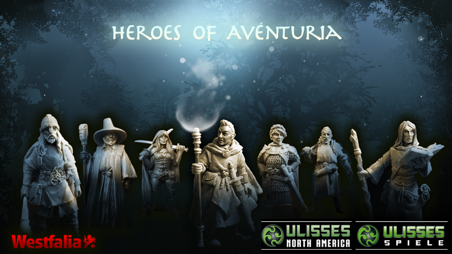 This is a collection of 28mm miniatures that depict Heroes from Aventuria, the main setting of the RPG The Dark Eye/Das Schwarze Auge.