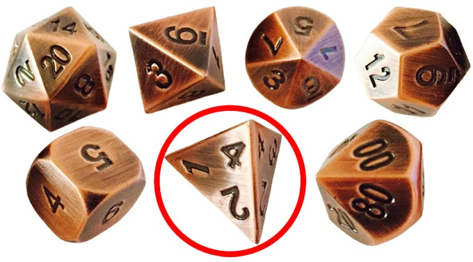 Back the High Roller tier, and you'll get four of these shiny d4s from SkullSplitter Dice!