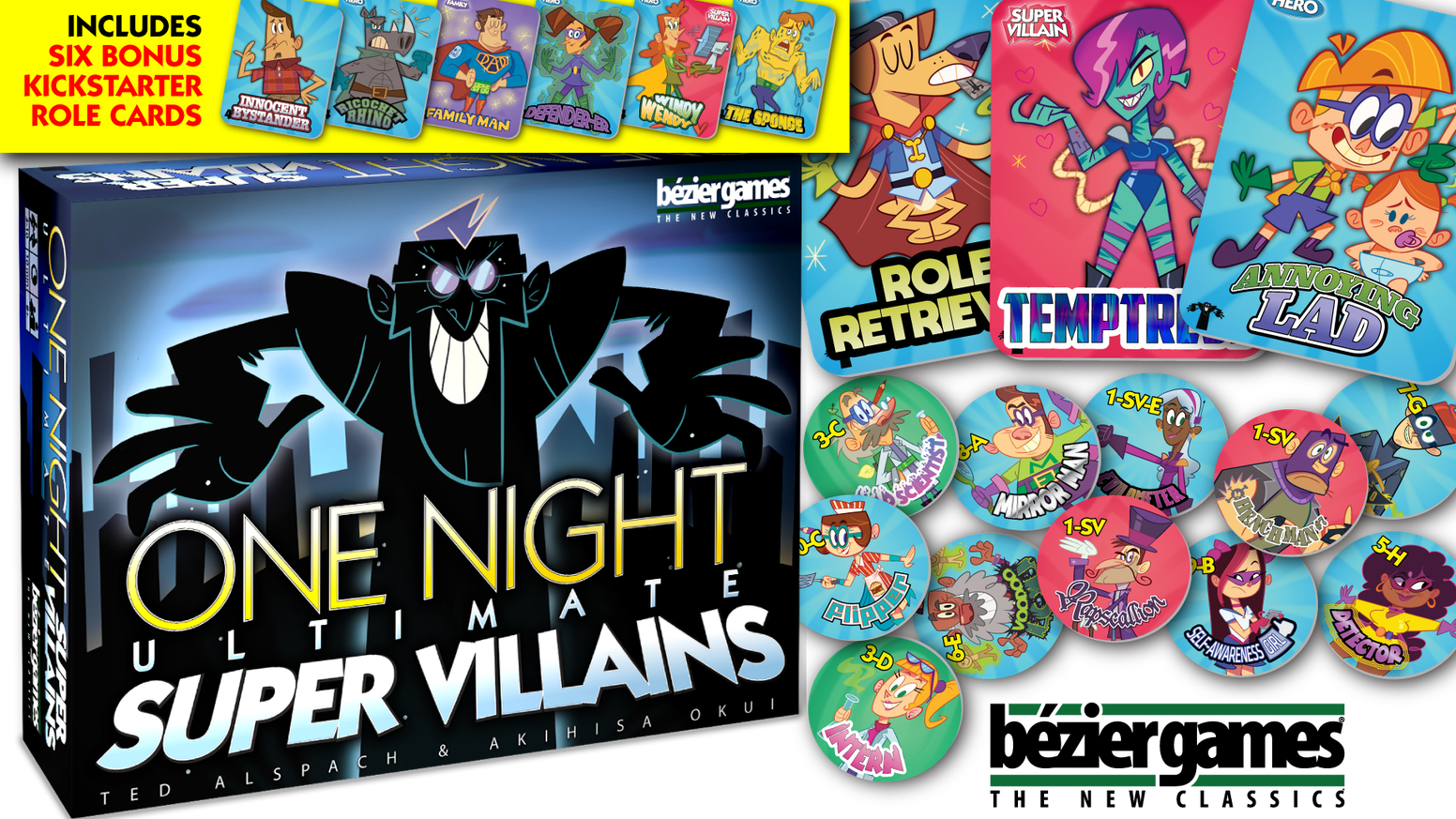 In this follow-up to One Night Ultimate Werewolf, players take on the roles of heroes or villains, each with amazing superpowers!