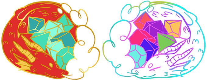 Mockups of the 2 base options: Red and Rainbow
