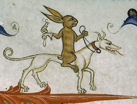 """Rabbit """"noble"""" mounted on a hound with his hunting snail- how cool is that?!"""