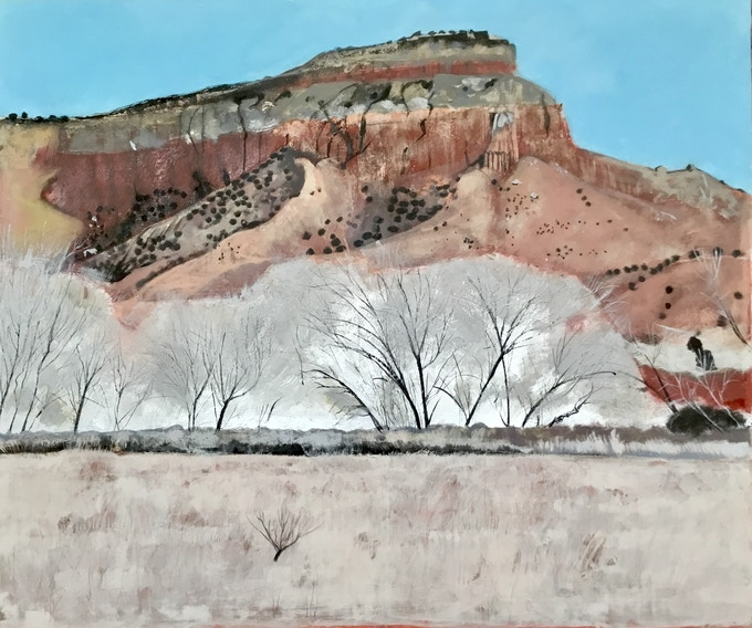 Rocks in Ghost Ranch, 110x122cm mixed media with plaster, wax, resin and silver leaf on canvas 2018