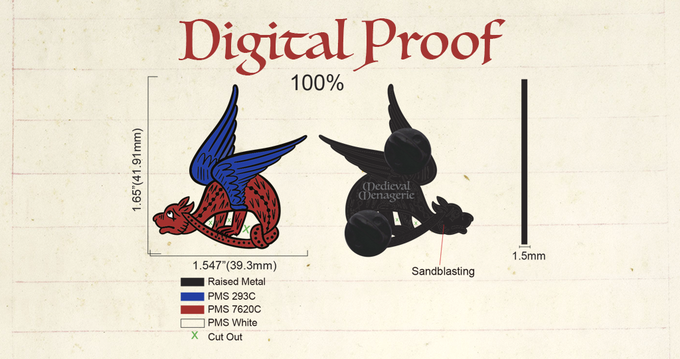 Knot a Dragon approved proof from the manufacturer, includes back stamp design