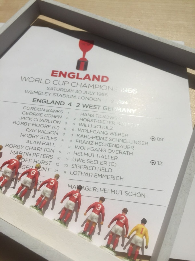 These framed sets of handmade and hand painted 1966 World Cup winners are among our rewards