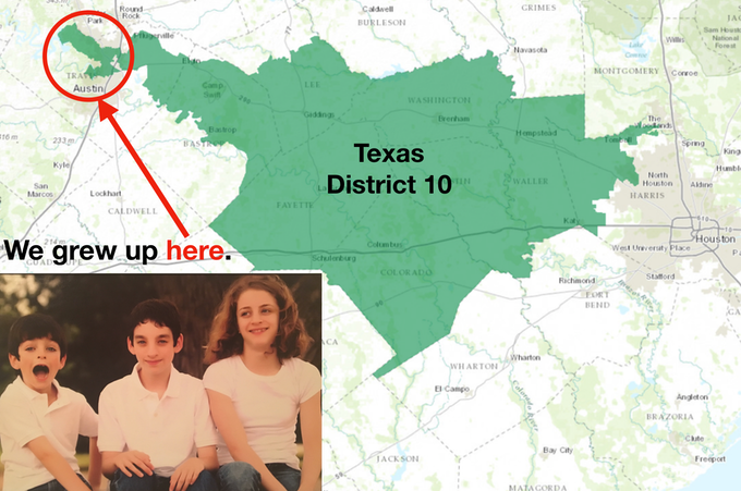 We grew up in a gerrymandered district (District 10) in Austin, TX.