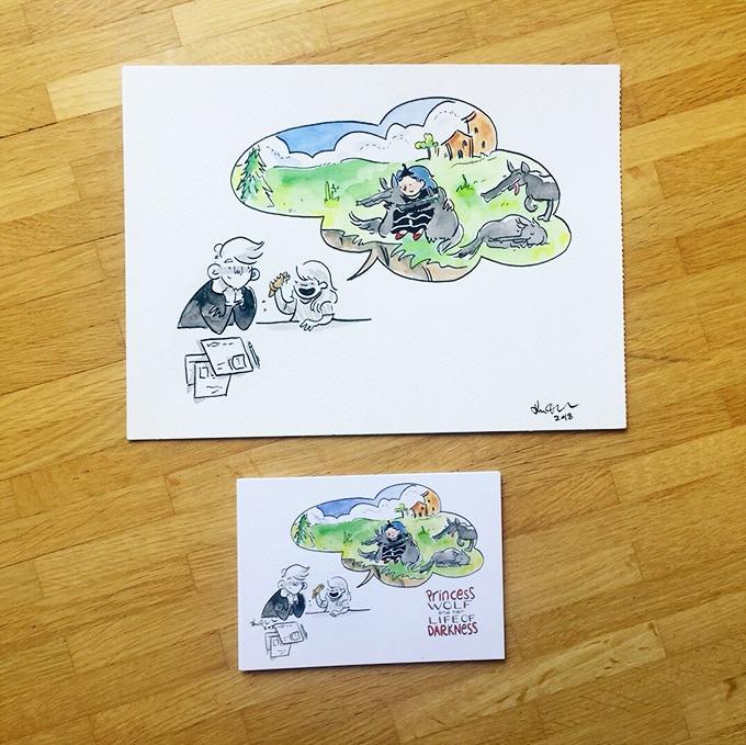 Original watercolor painting - postcard