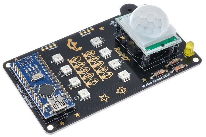 Assembled RasPiO Night Light PCB