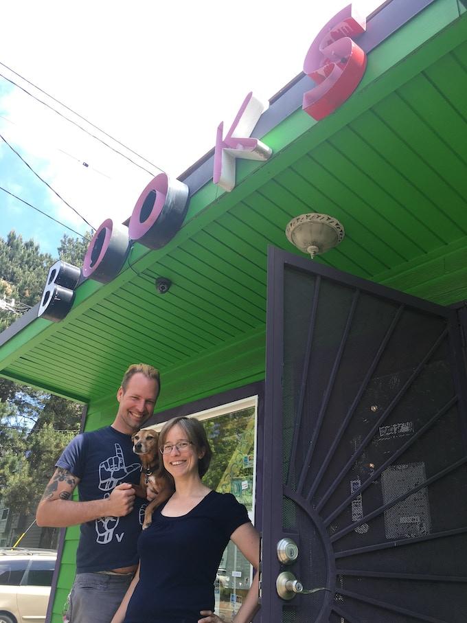 Elly Blue & Microcosm co-owner Joe Biel, where the magic happens