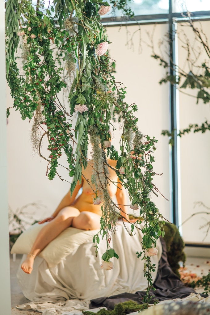 Glade - A botanical installation and scene for a life drawing class - for Gallery Munro House