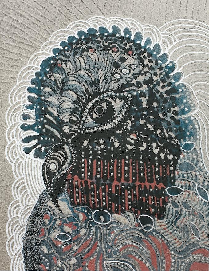 Joshua Yeldham// Bird of Paradise // unique hand carved archival pigment print on cotton paper