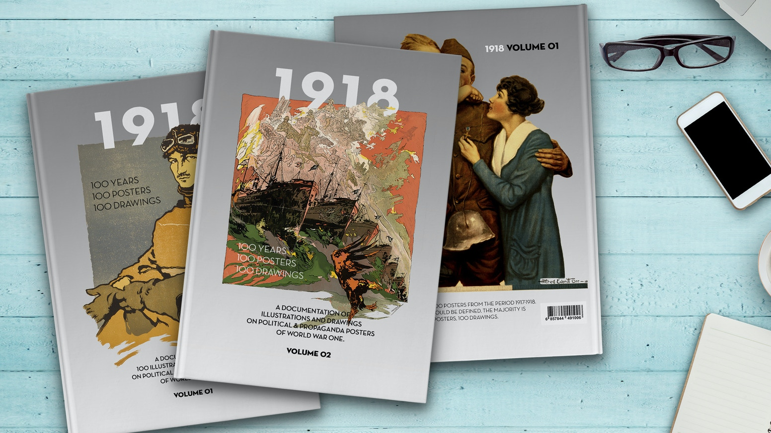 1918 . The Poster Book of WW1. VOLUME 02! A historical Documentation of illustrated Political & Propaganda Posters. Retouched, restored