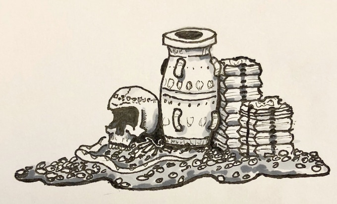 Treasure pile - Amphora and axe-head ingots on a pile of coins.  Sketch by me!