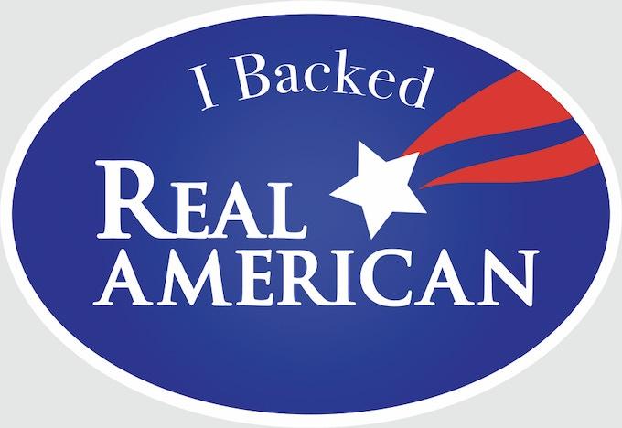 Real American campaign stickers/pegatinas de campaña