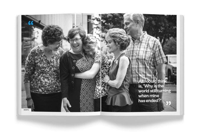 A mock-up spread of the HUMANS OF ST. LOUIS book.
