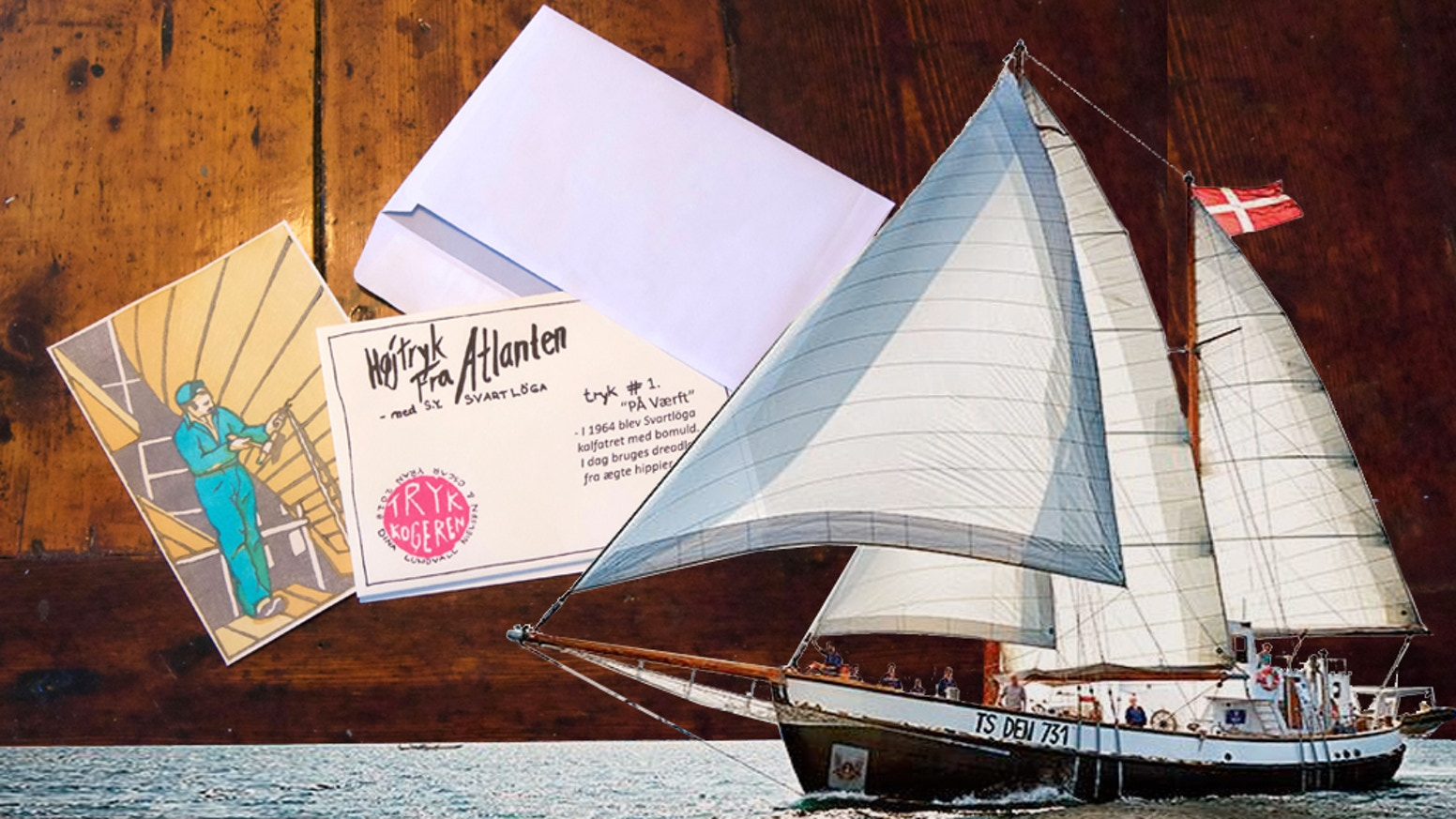 Making original woodblock prints, while sailing From Århus to Tobago,  onboard the amazing s/y Svartloga.