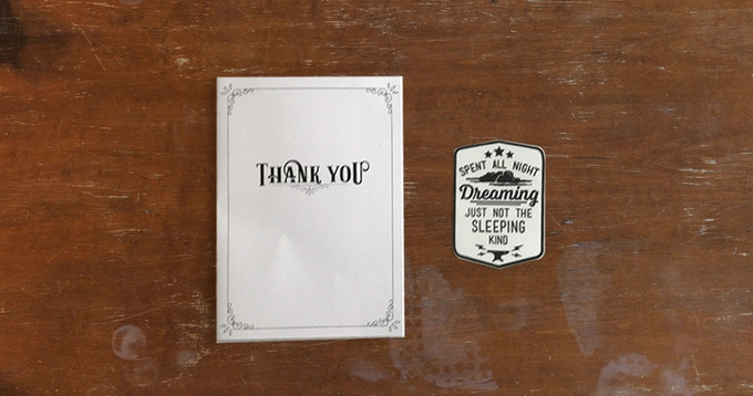Dream Weaver: Personalized Thank you Card and Sticker