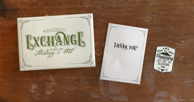 Dream Waver + Stock Broker: Thank you card, sticker, and 1 copy of Exchange (at early bird price)