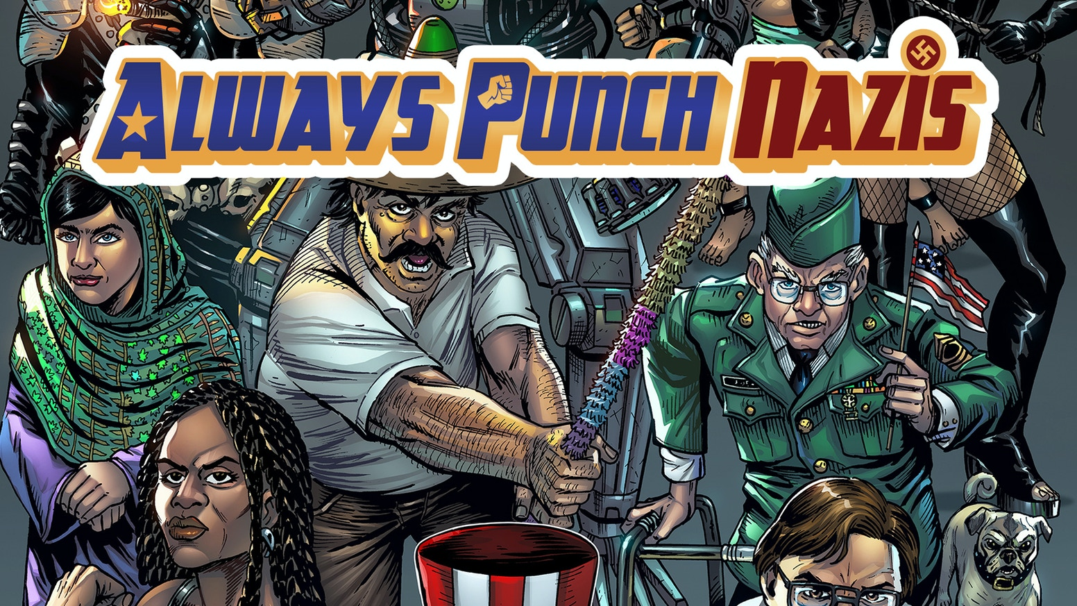 A 44-page, comic book anthology about our country's battle against racism. Join the fight with this satirical graphic novel.