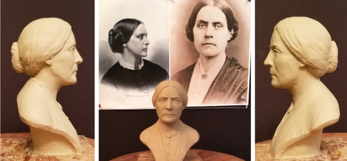 Sculpting process of Susan B. Anthony from photo to clay
