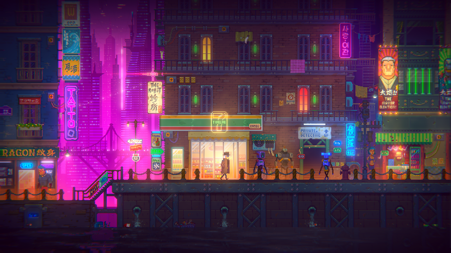 Tales Of The Neon Sea Retro Styled Pixel Art Adventure By