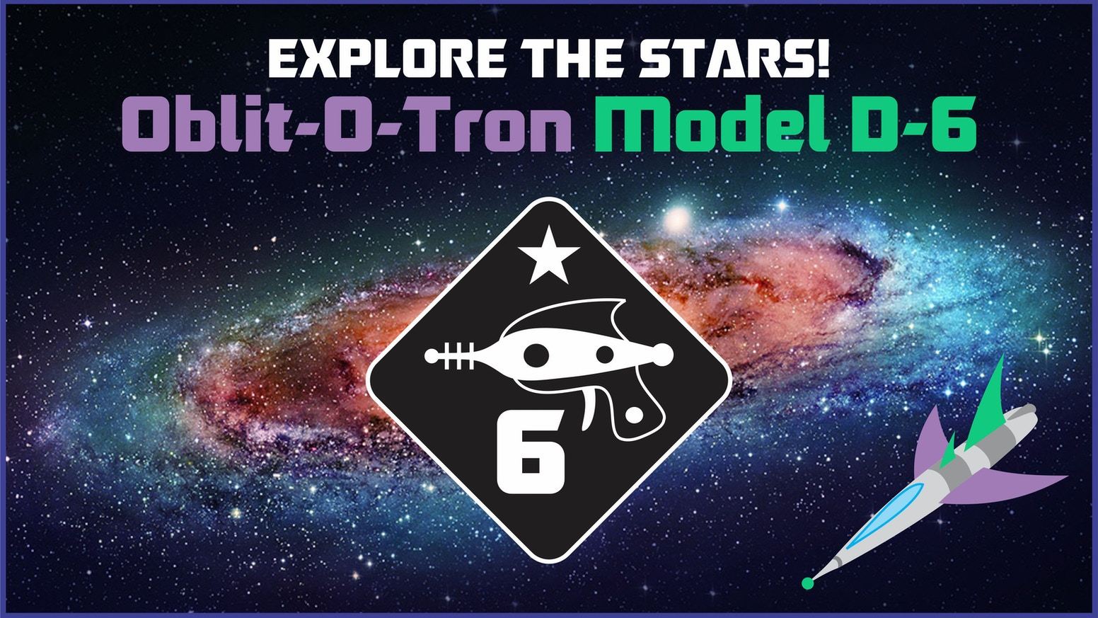 These d6s are 19mm and full of classic sci-fi theme! Explore the far reaches of space with your trusty Oblit-O-Tron D6 at your side!