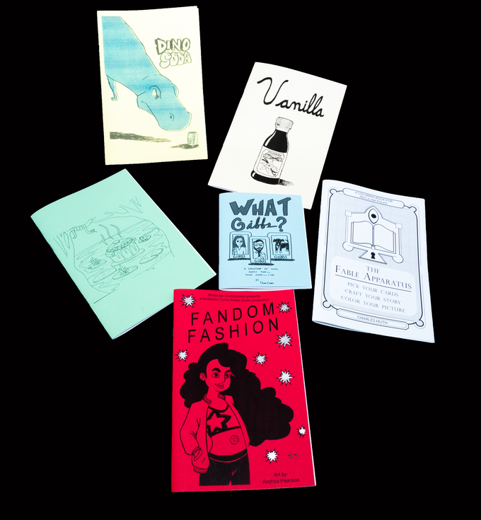 Northside Comic Artists Sampler Creator Pack - A bundle of 6 minicomics, coloring books, zines, art books, and more. Including work by Andrea Pearson, Charlie Huth, Dean Gibbs, Ryne Wiley, Stuart Marsh, and Edward Witt